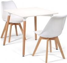 Toulouse Dining Set  - 80cms Square White Table & 2 White Chairs